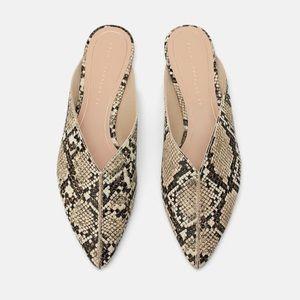 Zara snakeskin flats - never worn